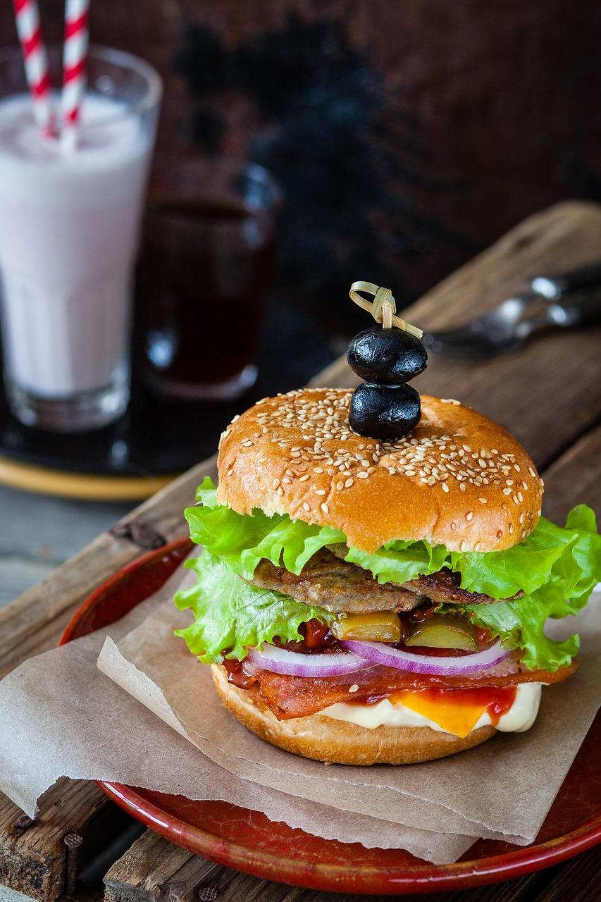 hamburger, burger, café